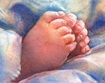 SALE Little Feet - Signed Giclee Fine Art Print
