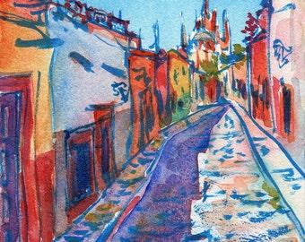 San Miguel de Allende Watercolor Street Signed Fine Art Giclee Print
