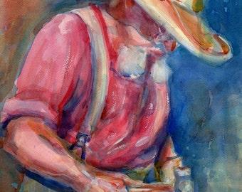 SALE Blacksmith Watercolor - Signed Giclee Fine Art Print