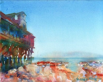Monterey - Landscape Beach Ocean View Watercolor Signed Giclee Print