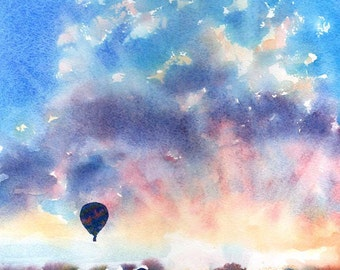Infatuated - Hot Air Balloon Sunrise Watercolor Signed Fine Art Giclee Print