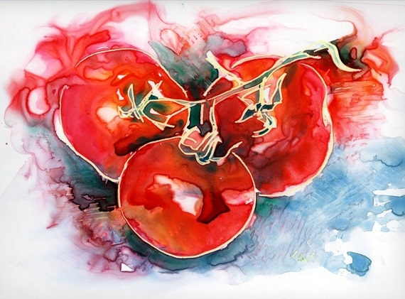 Tomato Juice - Original Watercolor on Yupo