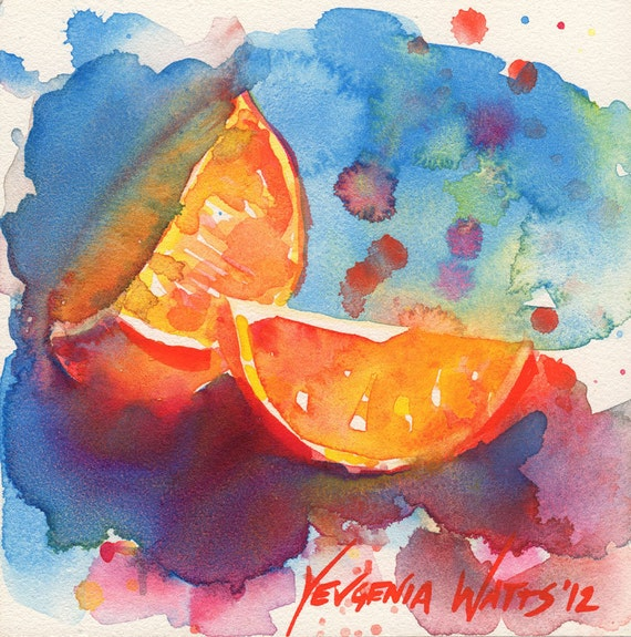 Two Quarters of an Orange Watercolor Painting Signed Giclee Print