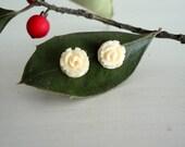 vintage BUTTERCREAM ivory rose earrings