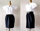 vintage 1960s dress : BLACK WHiTE mod 60s dress