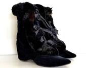 vintage edwardian carriage boots - 1900s fur boots / black velvet rabbit fur by Daniel Green