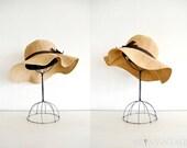 vintage floppy hat : COFFEE TAN suede bow