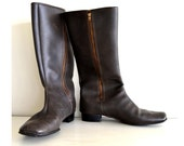vintage riding boots : 1970s dark chocolate brown rubber boots