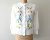 vintage 1960s sweater: powder white embroidered 60s cardigan sweater
