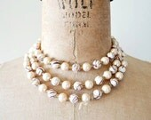 vintage beaded necklace : 1960s neutral metallic 3 strand pearl necklace