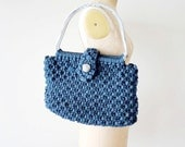 reserved...vintage 1970s purse : macrame oversized 70s crocheted bag
