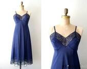 vintage full slip : navy blue lace dress slip