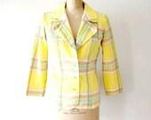 vintage 1970s jacket : buttercup plaid seersucker coat
