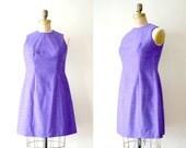 vintage 1960s dress : violet neon sleeveless shift dress