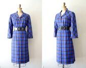 vintage 1960s dress: 60s royal blue plaid dress