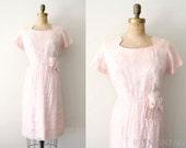 vintage 1950s dress - 50s wiggle dress / pale ballet pink