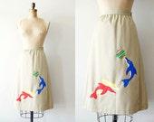 vintage wrap skirt - 1970s DOLPHiN skirt / tan schoolgirl embroidery