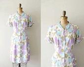 vintage 1960s dress - 60s house coat / lavender teal floral
