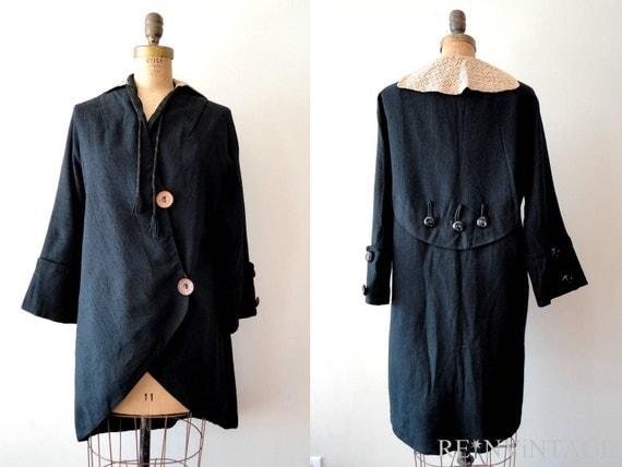 RESERVED...vintage edwardian coat : early 1900s ecru lace black jacket