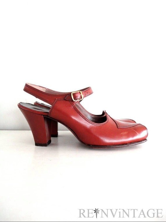 vintage 1940s shoes : tobacco road 40s deadstock high heels
