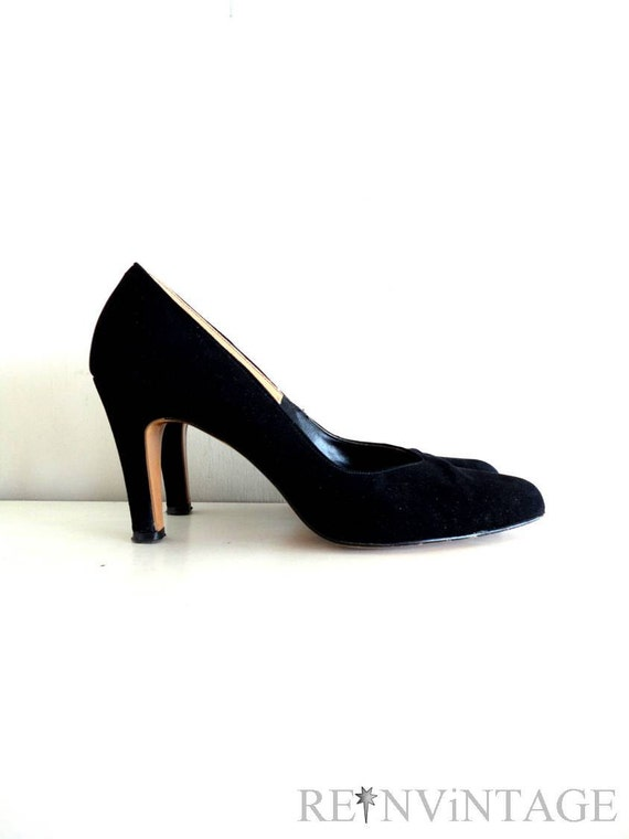 vintage 1950s shoes - 50s black suede heels