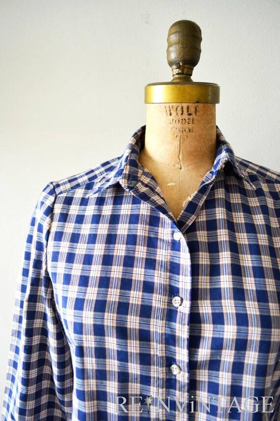 vintage plaid shirt : FARMHOUSE PLAiD navy blue by John Meyer