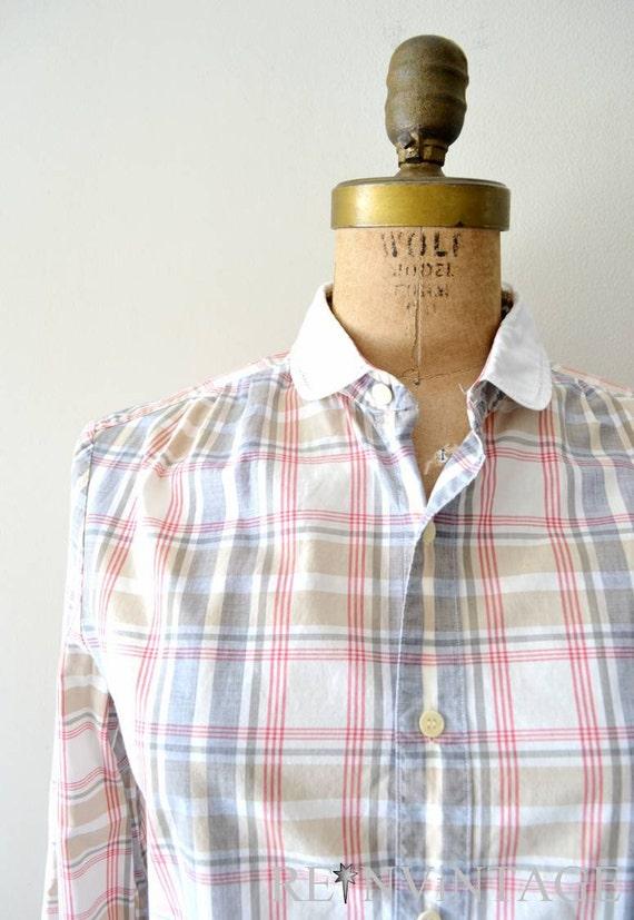 vintage plaid blouse : 1970s autumn gray plaid shirt