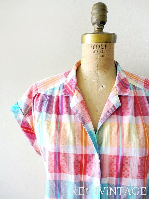 vintage plaid shirt : SUMMER SUNSET pink plaid