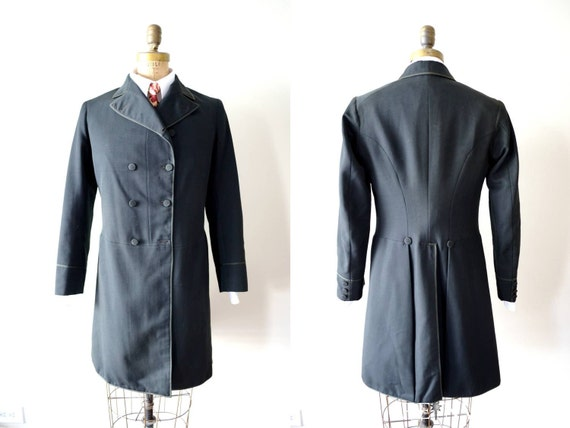 vintage men's jacket  : 1900s edwardian suit coat with tails by Garitee Son & Allen of Philadelphia