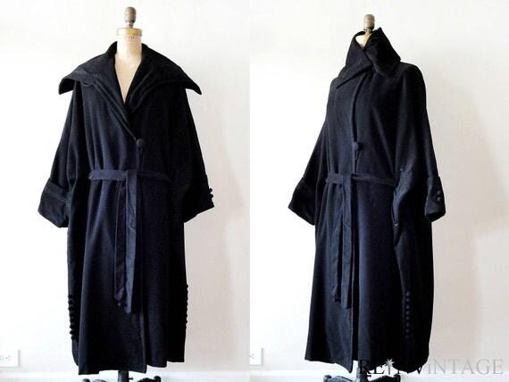 vintage wool coat : early 1900s edwardian black middy collar cape coat