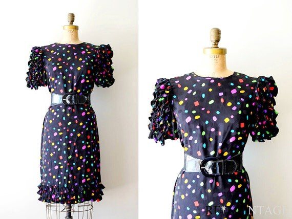 reserved...vintage 80s dress : 1980s holiday lights  ruffle dress