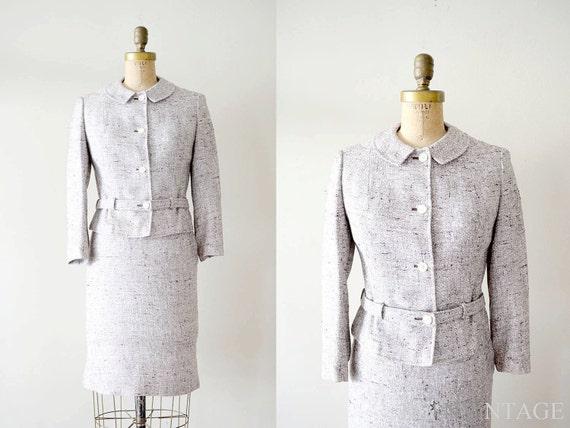 vintage 1960s dress : 60s gray peter pan collar tweed women's suit