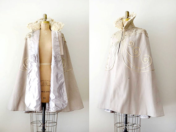 vintage cape - late 1800s beige wool cape / braid detail & lavender silk lining