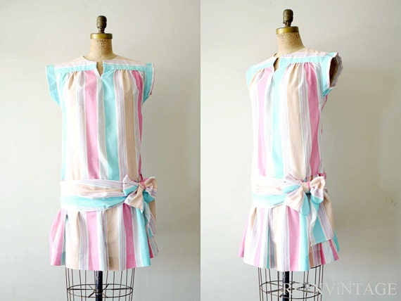 vintage 1980s dress - 80s summer dress / pink stripe drop waist bow