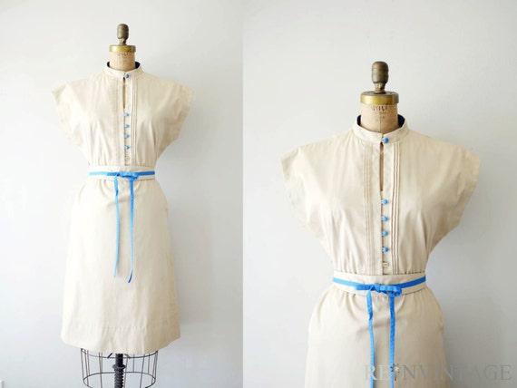 reserved...vintage 1970s dress - 70s army dress / khaki tan blue belt