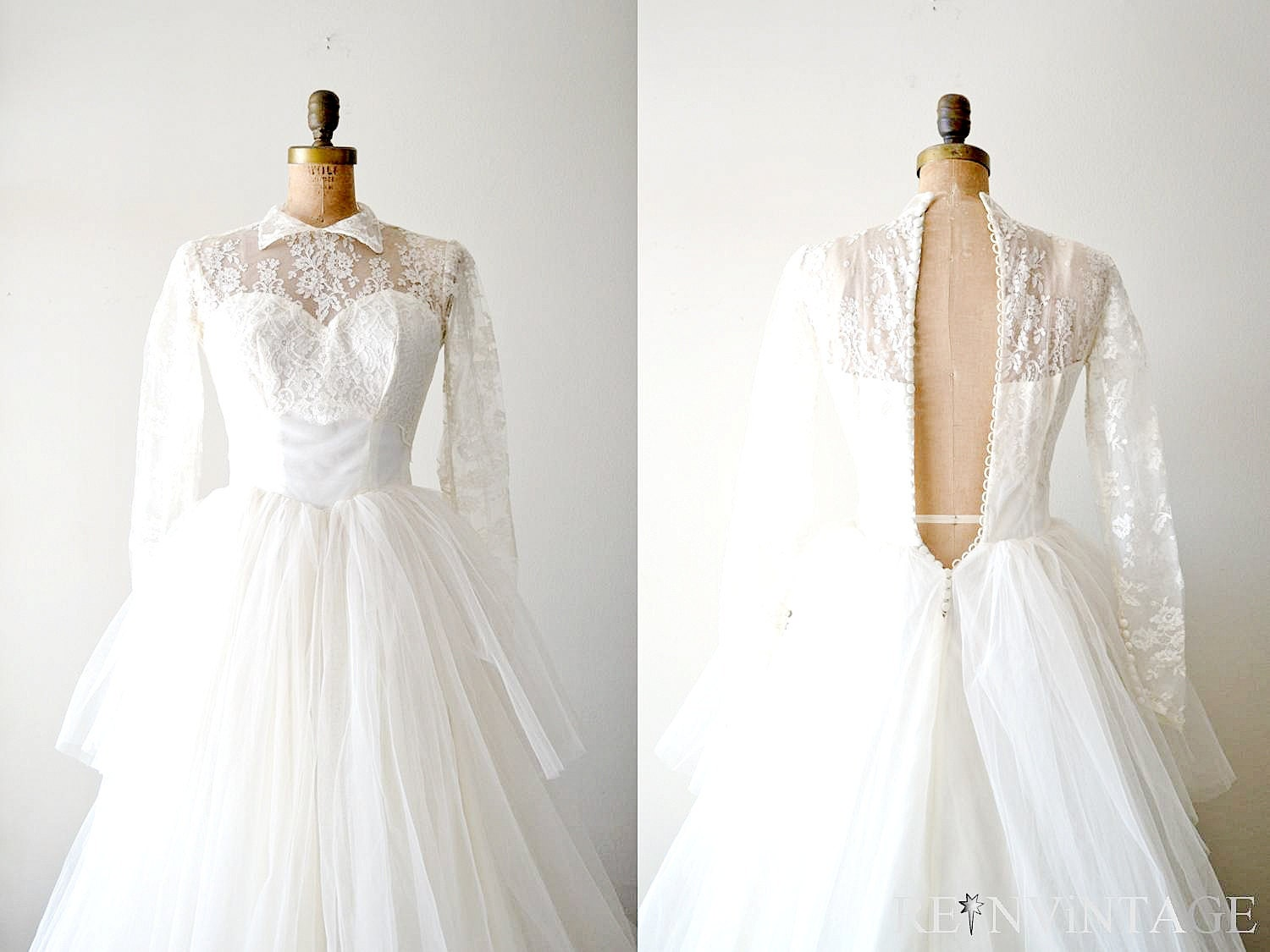 Vintage 1940s Wedding Dress 40s Lace Wedding Dress / Ivory