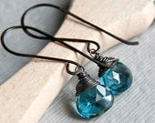 AAA Droplets of London Blue Topaz Wire Wrapped Earrings on Long French Ear Wires