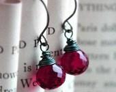 Pomegranate Quartz Earrings, Dark Oxidized Sterling Silver Wire Wrapped Stone Drops