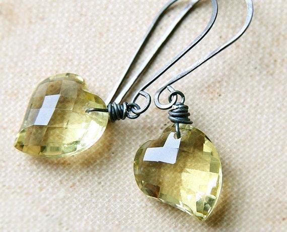 AAA Yellow Lemon Quartz Faceted Heart Briolette Earrings, Pale Butter