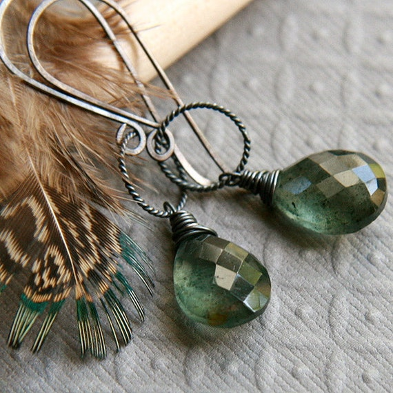 Moss Aquamarine Earrings, Oxidized Sterling Silver - Drops of Sage Green Gemstone Teardrops