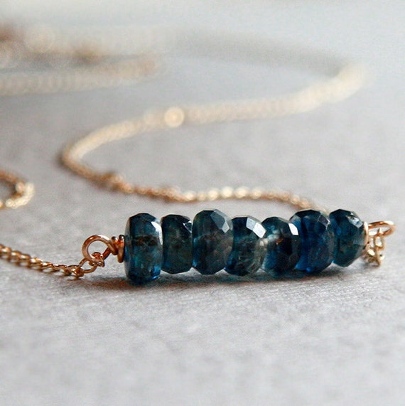Denim Kyanite Stone Necklace 14k Gold Filled Wire Wrapped Greek Blue