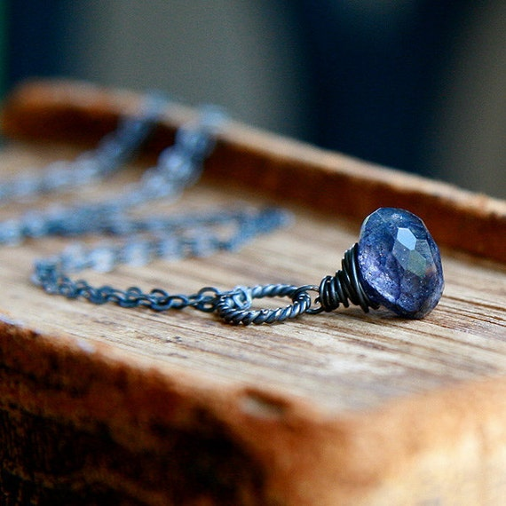 Labradorite Necklace, Dark Sterling Silver, Wire Wrapped Oxidized Silver - Denim Blue Droplet