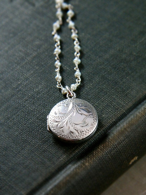 Small Round Sterling Silver Locket Necklace, Wire Wrapped Freshwater Pearl Dainty Chain