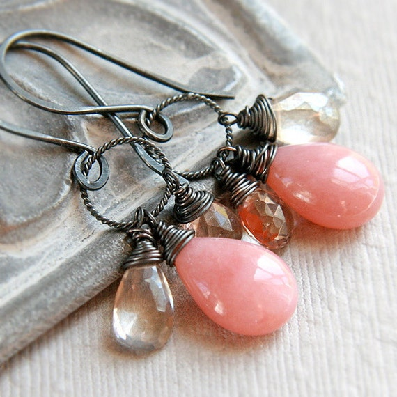 Pink Opal Earrings, Oxidized Sterling Silver Wire Wrapped Soft Muted Rose Gemstone Dangles