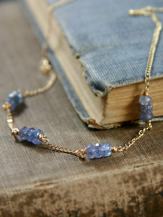 Tanzanite Necklace, 14k Gold Filled Wire Wrapped Chain - Lavender Royal Beauty