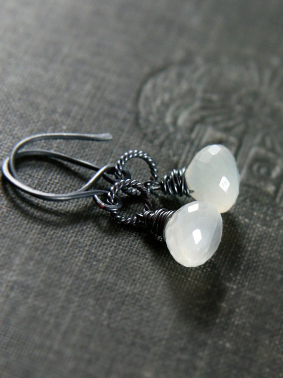 Moonstone Earrings Oxidized Sterling Silver Wire Wrapped Faceted Onion Briolettes