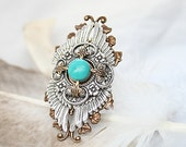 Native American Ring, Turquoise Ring, Silver Wing, Victorian