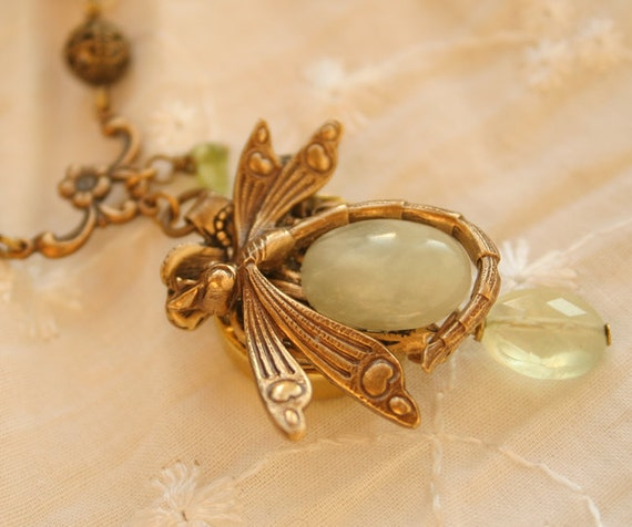Perfume Necklace, Poison Pendant, Secret Compartment, Dragonfly, Serpentine