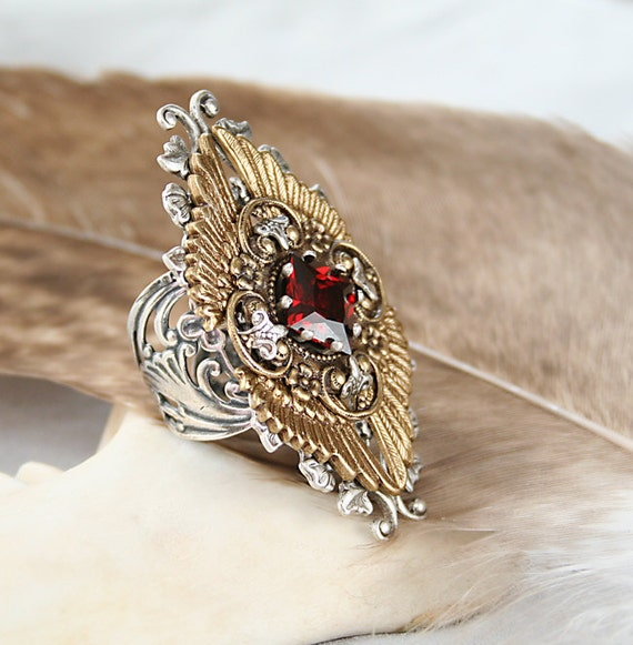 Steampunk Ring,  Native American, Gothic Ring, Victorian Gothic, Victorian Wing, Feather, Handmade