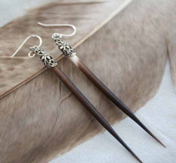 Porcupine Quill Earrings, Native American, Silver, Tribal Earrings, Handcrafted, Southwest